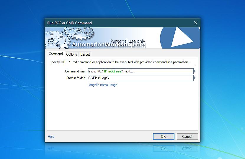 Run CMD Command · Automation Workshop Free Edition screenshot