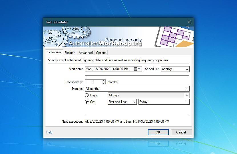 Task Scheduler · Automation Workshop Free Edition screenshot