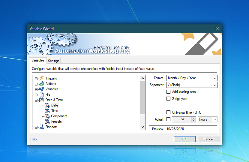 Variable Wizard · Automation Workshop Free Edition screenshot